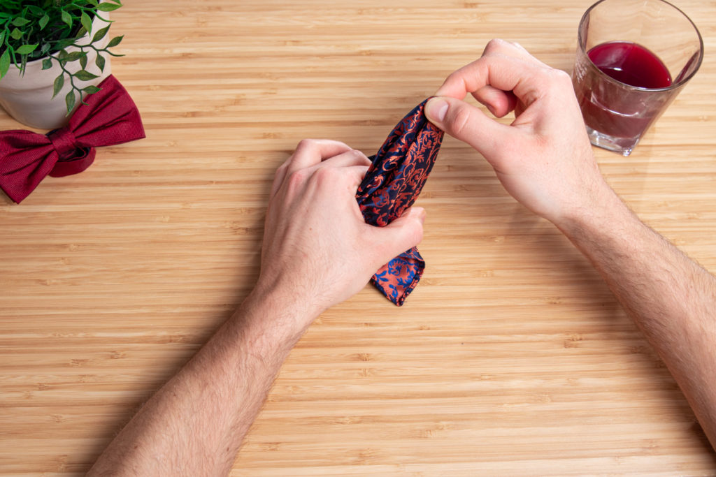 hand with handkerchief