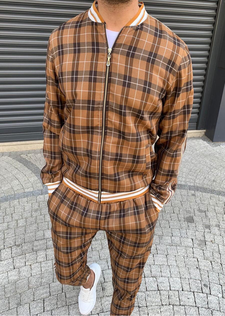 Gentlemen Tracksuit  Dark Blue White With Brown Striped and Red Orange Checkered Plaid Unisex Trackuit Sport Clothes